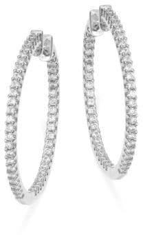 Crislu Cubic Zirconia Lined Hinged Hoop Earrings- 1.25 In.