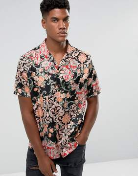 Jaded London Shirt In Black With Floral Print