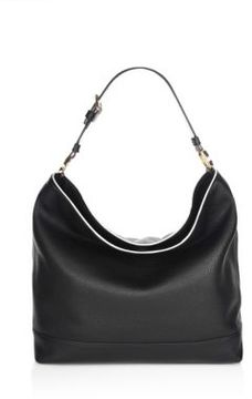 Tory Burch Duet Hobo Leather Bag - BLACK - STYLE