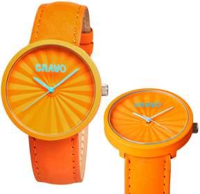 Crayo Pleats Orange Stainless Steel Case Unisex Watch