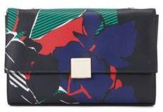 Hugo Boss Munich Flap FL Italian Calfskin Printed Handbag, Chain Strap One Size Black