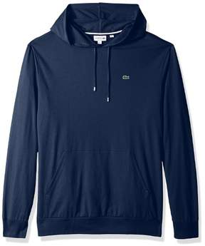 Lacoste Men's Long Sleeve Hoodie Jersey Tee With Central Pocket