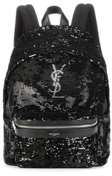 Saint Laurent Mini City sequinned backpack - BLACK - STYLE