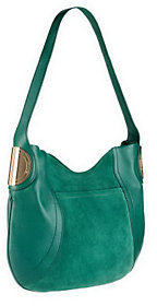 B. Makowsky As Is Giamma Leather & Suede Hobo Bag w/ Hardware