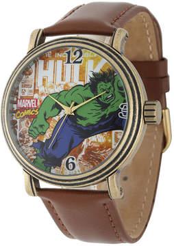 Marvel Vintage Hulk Mens Brown Leather Strap Watch