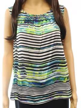 Nine West Women's Pleated Stripe Sleeveless Blouse (M, Jade/Ivory Multi)