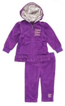 Calvin Klein Infant Girls Purple Velour Jacket Pants Set Baby Track Suit 12m