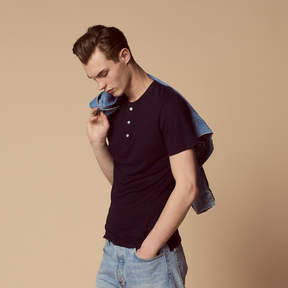 Sandro T-shirt with grandad-style neckline