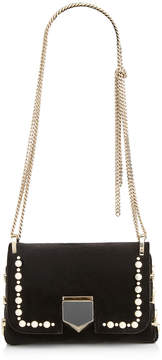 Jimmy Choo LOCKETT MINI Black Velvet Mini Cross Body Bag with Pearl Studs