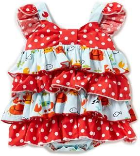 Bonnie Jean Bonnie Baby Baby Girls Newborn-9 Months Flutter-Sleeve Mixed-Media Dotted/Crab-Printed Bodysuit