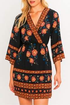 Flying Tomato Border Print Kimono Dress