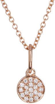 Bony Levy 18K Rose Gold Pave Diamond Flat Circle Pendant Necklace - 0.06 ctw