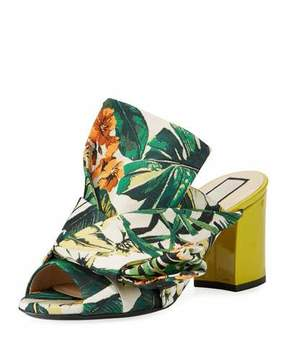 No.21 No. 21 Floral Chunky-Heel Bow Mule Sandal, Yellow Palm