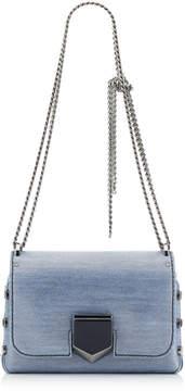 Jimmy Choo LOCKETT PETITE Dusk Blue Metallic Denim Fabric Shoulder Bag