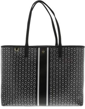 Tory Burch Women's Gemini Link Tote Canvas Top-Handle Bag - Black Stripe - BLACK GEMINI LINK STRIPE - STYLE
