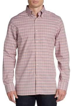 Hickey Freeman Plaid Cotton Button-Front Sportshirt