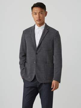 Frank and Oak Wool-Blend Ottoman-Knit Blazer in Carbon Grey