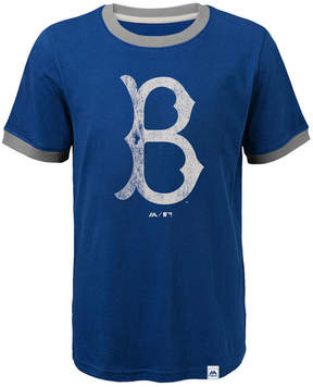 Majestic Brooklyn Dodgers Baseball Stripes Coop Ringer T-Shirt, Big Boys (8-20)