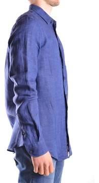 Armani Collezioni Men's Blue Linen Shirt.