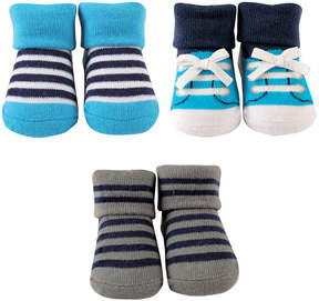 Luvable Friends Blue & Navy Stripe Three-Pair Socks Set - Infant