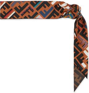 Fendi - Printed Silk-twill Scarf - Brown
