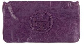 Tory Burch Leather Reva Clutch - PURPLE - STYLE