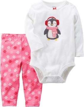 Carter's Baby Girls Penguin Bodysuit Set