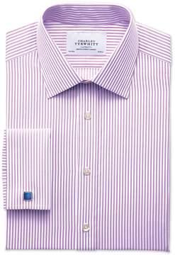 Charles Tyrwhitt Slim Fit Bengal Stripe Lilac Cotton Dress Shirt French Cuff Size 14.5/33