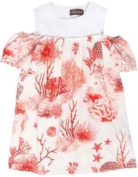 Roberto Cavalli Coral Printed Cotton Jersey & Lace Dress