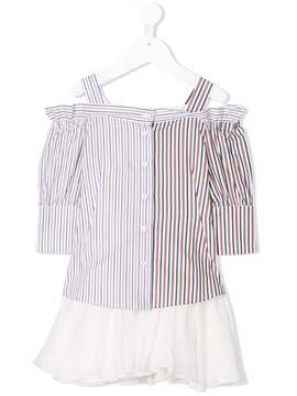 Dondup Kids striped cold shoulder dress