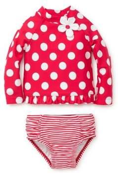 Little Me Baby Girls' Two-Piece Polka-Dot Rashguard & Striped Swim Bottoms Set