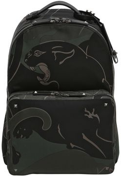 Valentino Camouflage Panther Nylon Backpack