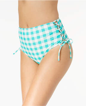 California Waves Juniors' Check Please High-Waist Lace-Up Bikini Bottom, Created for Macy's Women's Swimsuit