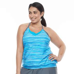 Free Country Plus Size Bust Enhancer 2-in-1 Tankini Top