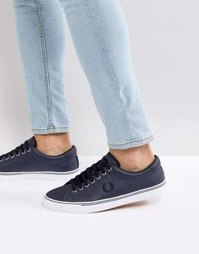 Fred Perry Underspin Leather Sneakers In Navy