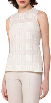 Akris Sleeveless Grid Lace Top, Off White