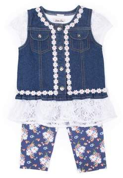 Little Lass Little Girls' 4-6X Crochet & Floral Denim Vest, Peplum Tee, and Legging 3-Piece Set