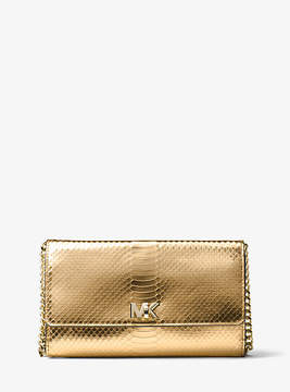 Michael Kors Mott Metallic Embossed-Leather Clutch - GOLD - STYLE