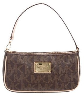 MICHAEL Michael Kors Leather-Trimmed Pochette - BROWN - STYLE
