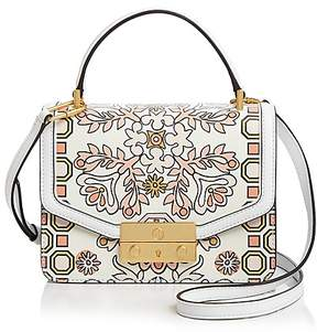 Tory Burch Juliette Printed Mini Leather Satchel - HICKS GARDEN WHITE/GOLD - STYLE