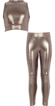 River Island Girls silver metallic crop top outfit
