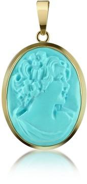 Del Gatto Woman Turquoise Paste Cameo Pendant