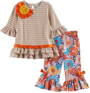 Rare Editions Toddler Girl Striped Flower Applique Top & Patterned Bell Bottom Leggings Set