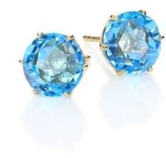Ippolita Rock Candy Swiss Blue Topaz & 18K Yellow Gold Medium Stud Earrings