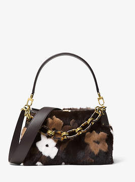 Michael Kors Miranda Medium Mink Fur Shoulder Bag - BROWN - STYLE