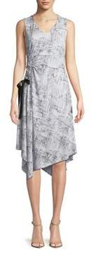 Ellen Tracy Printed Side Ruched Dress