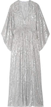 Elizabeth and James Raquel Metallic Fil Coupé Silk-blend Maxi Dress - Silver