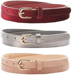Charlotte Russe Velvet, Stamped & Faux Leather Belts - 3 Pack