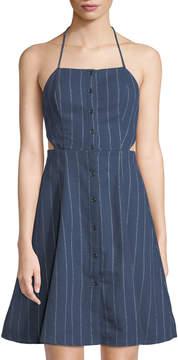 Astr Paulina Pinstriped Button-Down Halter Dress