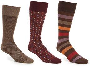 Roundtree & Yorke Gold Label Big & Tall Square Dot Combo Crew Dress Socks 3-Pack